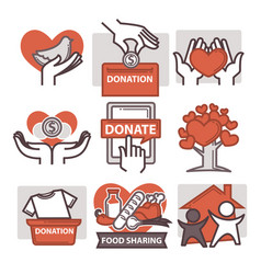 Donation and volunteer work icons vector