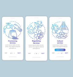 Ecosystem services blue onboarding mobile app vector