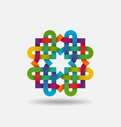 endless knot colored rainbow intertwined vector image