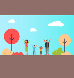 family standing with hands up in city park vector image