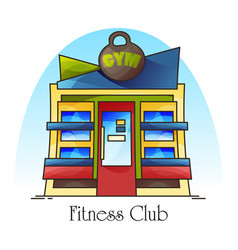 fitness club building facade gym front view vector image