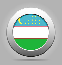 flag of uzbekistan metal gray round button vector image