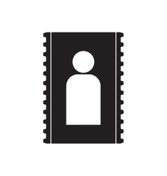 Flat icon in black and white contact vector