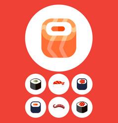 flat icon salmon set of eating sashimi maki and vector image