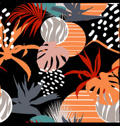 flower and tropical leaves drawing seamless vector image