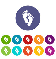 Footprints icons set color vector