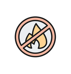 Forbidden sign with fire firefighting no bonfire vector