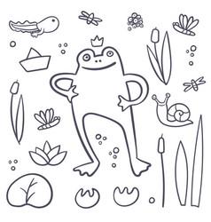 Frog coloring book set summer swamp set frog life vector