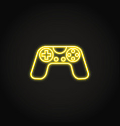 Game controller icon in glowing neon style vector