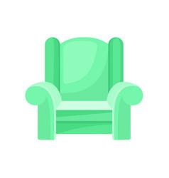 Green comfortable armchair living room furniture vector