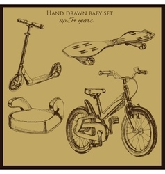 Hand drawn vintage baby transport vector
