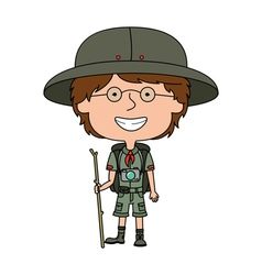 Happy boy scout standing with wooden stick vector