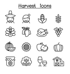 harvest thanksgiving icon set in thin line style vector image