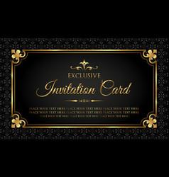 invitation card - luxury gold and black design vector image