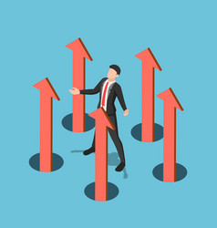 isometric businessman controlling business arrow vector image