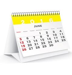 June 2016 desk calendar vector
