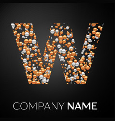 letter w logo gold-silver dots alphabet logotype vector image