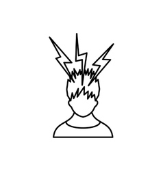 Lightning above the head of man icon vector image