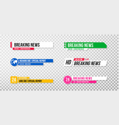 Lower third template set tv banners and bars vector