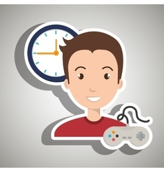 Man cartoon control game clock vector