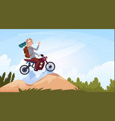 man riding off road bike in mountain wear in vector image
