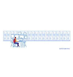 Man sitting workplace desk working in data center vector