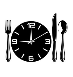monochrome with fork spoon vector image