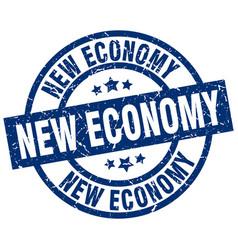 New economy blue round grunge stamp vector