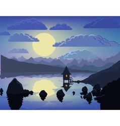 Night mountain lake landscape vector image