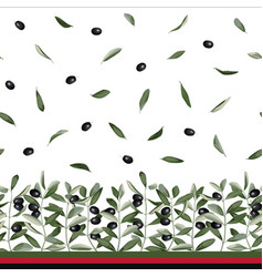 Olive branch seamless border vector