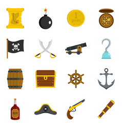 pirate icons set in flat style vector image