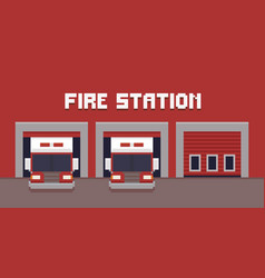 Pixel art fire station vector