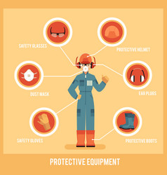 protective uniform and equipment flat set vector image