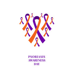 Psoriasis awareness orange and purple ribbon set vector