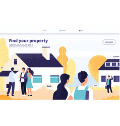 Real estate landing people rent sale and buy vector