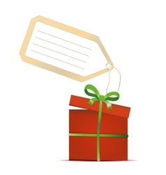 red gift box with green ribbon and tag isolated on vector image