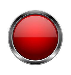 Red glass button round 3d shiny icon with metal vector