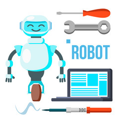 robot with laptop homemade assistant vector image