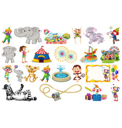 set animal and circus vector image