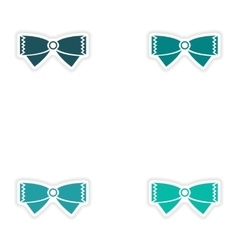 Set of paper stickers on white background bow-tie vector