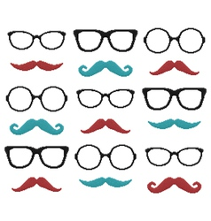 Set of pixel hipster glasses and mustache vector image