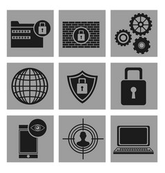 Set security system data icons vector