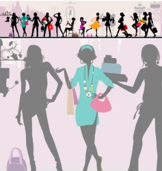 shopping girls paris vector image vector image