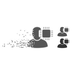 Shredded pixel halftone neuro interface icon vector