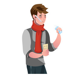 sick man with a thermometer vector image