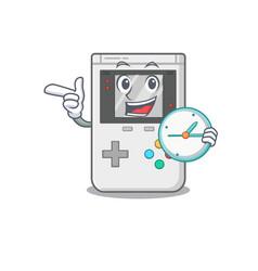 Smiling handheld game scroll cartoon character vector