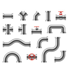 steel pipes metal pipeline connectors fittings vector image