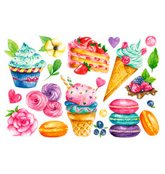 sweet collection confectionery watercolor vector image