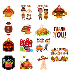 Thanksgiving cliparts icons vector