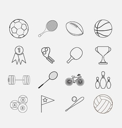 Thin sport icon set vector